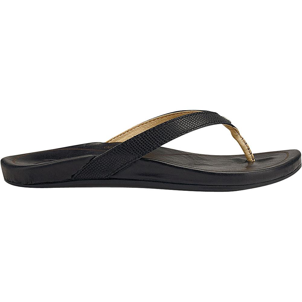 OluKai Womens HiOna Sandal 6 - Black/Black - OluKai Womens Footwear - Apparel & Footwear, Women's Footwear