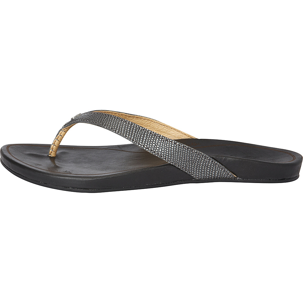 OluKai Womens HiOna Sandal 5 - Pewter/Black - OluKai Womens Footwear - Apparel & Footwear, Women's Footwear