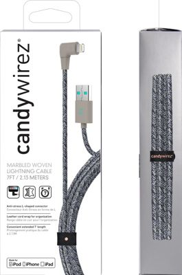 Candywirez 7 Ft Marbled Woven Braided Lighting Cables Grey/Purple - Candywirez Electronic Accessories