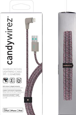 Candywirez 7 Ft Marbled Woven Braided Lighting Cables Red/Grey - Candywirez Electronic Accessories