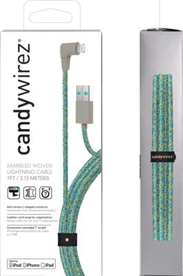 Candywirez 7 Ft Marbled Woven Braided Lighting Cables Turquoise - Candywirez Electronic Accessories