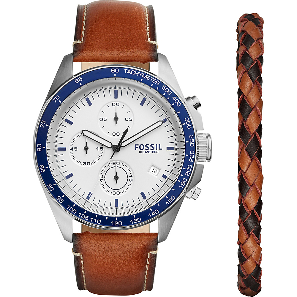Fossil Sport 54 Chronograph Leather Watch Set Light Brown - Fossil Watches - Fashion Accessories, Watches