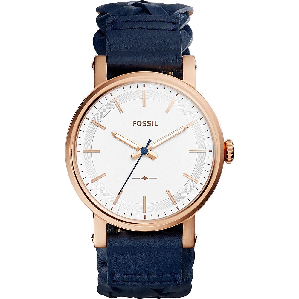 Fossil Original Boyfriend 3-Hand Leather Watch Blue - Fossil Watches - Fashion Accessories, Watches
