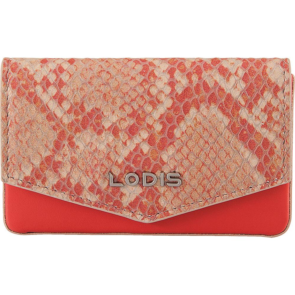 Lodis Kate Exotic Maya Card case Pink/Cream - Lodis Womens Wallets - Women's SLG, Women's Wallets