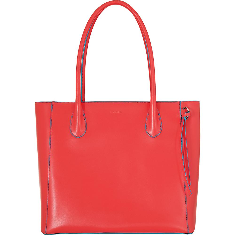 Lodis Audrey Cecily Satchel Coral/Turquoise - Lodis Leather Handbags - Handbags, Leather Handbags