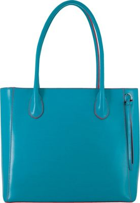 Lodis Audrey Cecily Satchel Turquoise/Coral - Lodis Leather Handbags