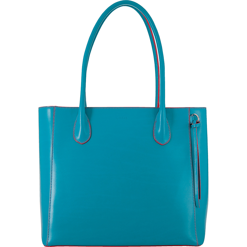 Lodis Audrey Cecily Satchel Turquoise/Coral - Lodis Leather Handbags - Handbags, Leather Handbags