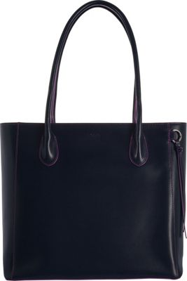 Lodis Audrey RFID Cecily Satchel Navy/Orchid - Lodis Leather Handbags