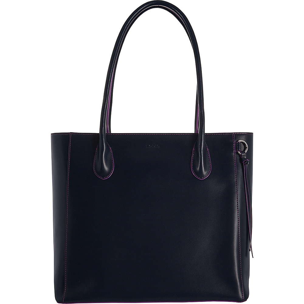 Lodis Audrey RFID Cecily Satchel Navy/Orchid - Lodis Leather Handbags - Handbags, Leather Handbags