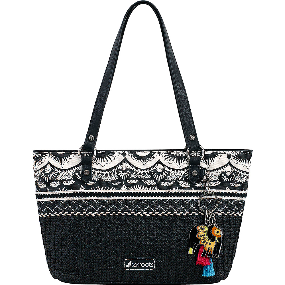 Sakroots Ellis Small Satchel Black & White One World - Sakroots Fabric Handbags - Handbags, Fabric Handbags
