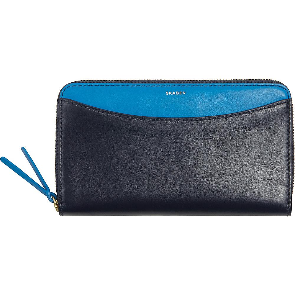 Women's Skagen Leather Continental Wallet - Blue