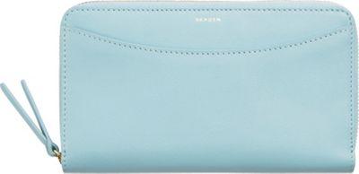 Skagen Compact Leather Zip Wallet Sky Blue - Skagen Designer Handbags