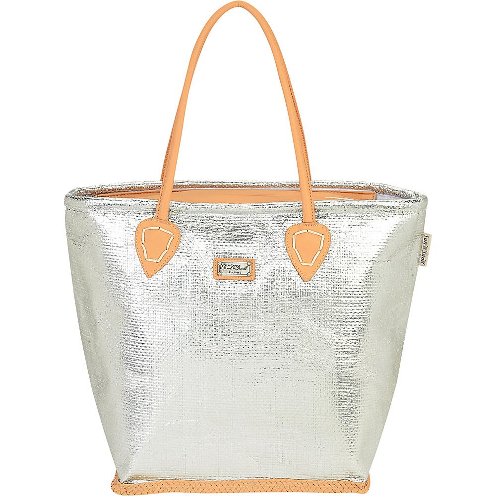 Sun N Sand Natural Straw Handbag Tote Silver - Sun N Sand Straw Handbags - Handbags, Straw Handbags