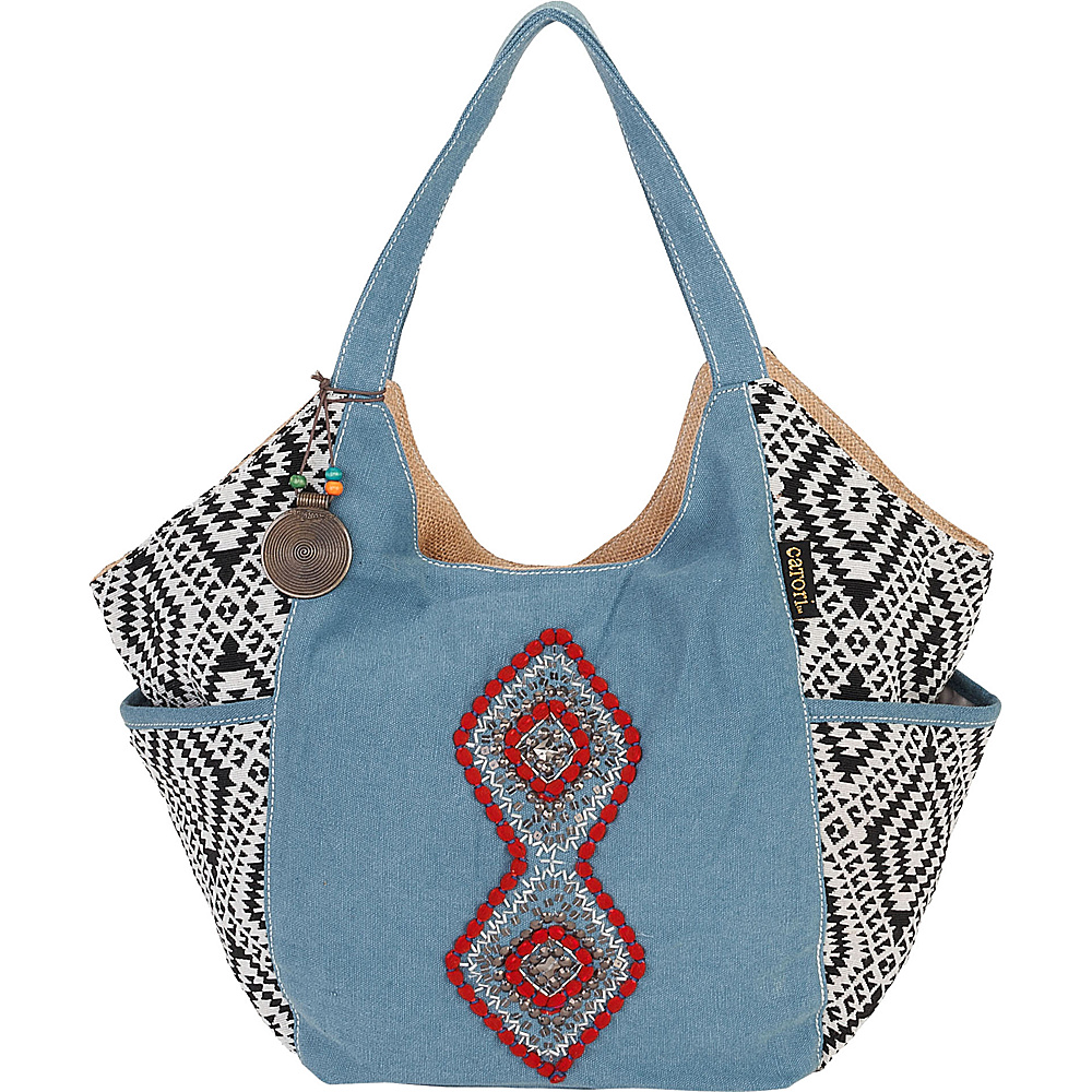 Sun N Sand Hira Tote Blue Multi - Sun N Sand Fabric Handbags - Handbags, Fabric Handbags