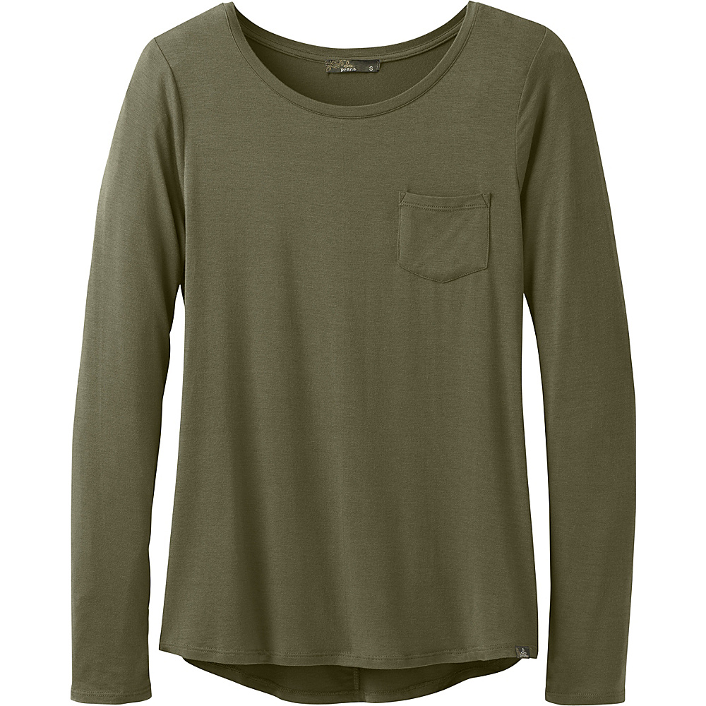 PrAna Foundation Long Sleeve Crew Neck Top XL - Cargo Green - PrAna Womens Apparel - Apparel & Footwear, Women's Apparel
