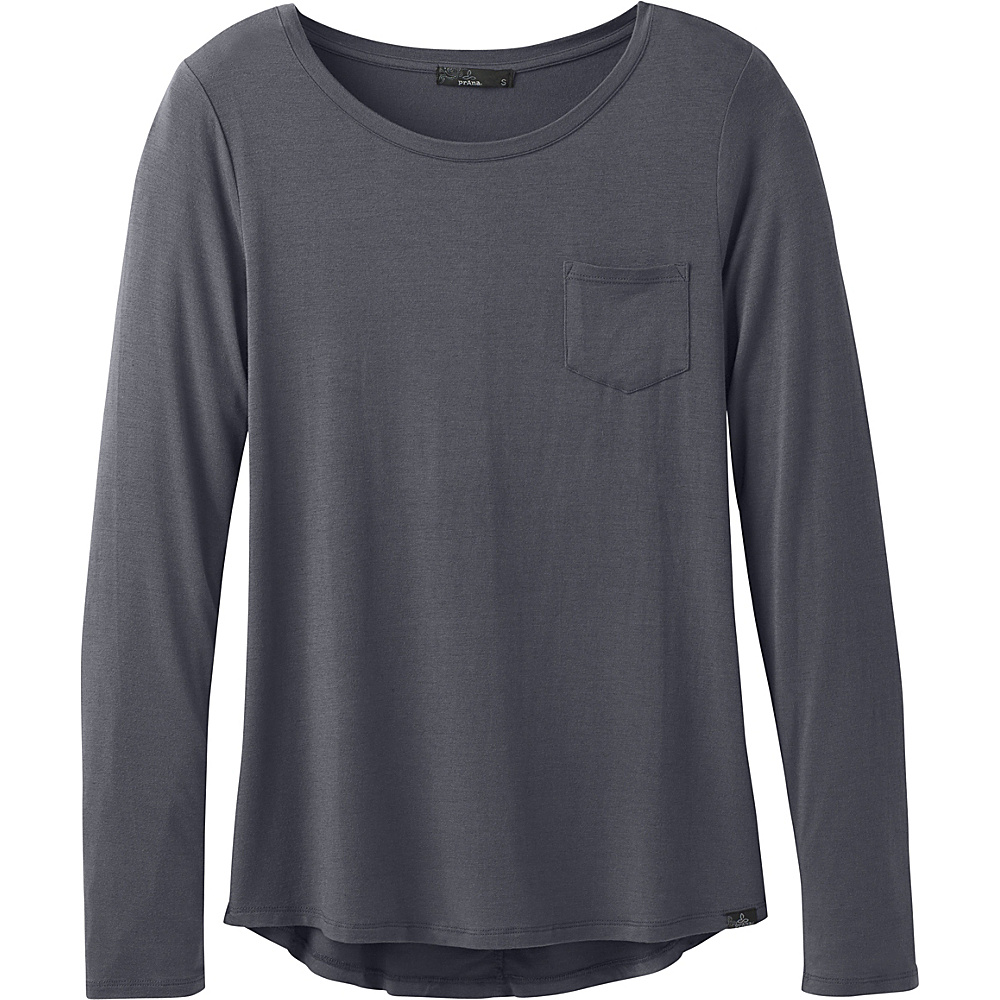 PrAna Foundation Long Sleeve Crew Neck Top M - Coal - PrAna Womens Apparel - Apparel & Footwear, Women's Apparel