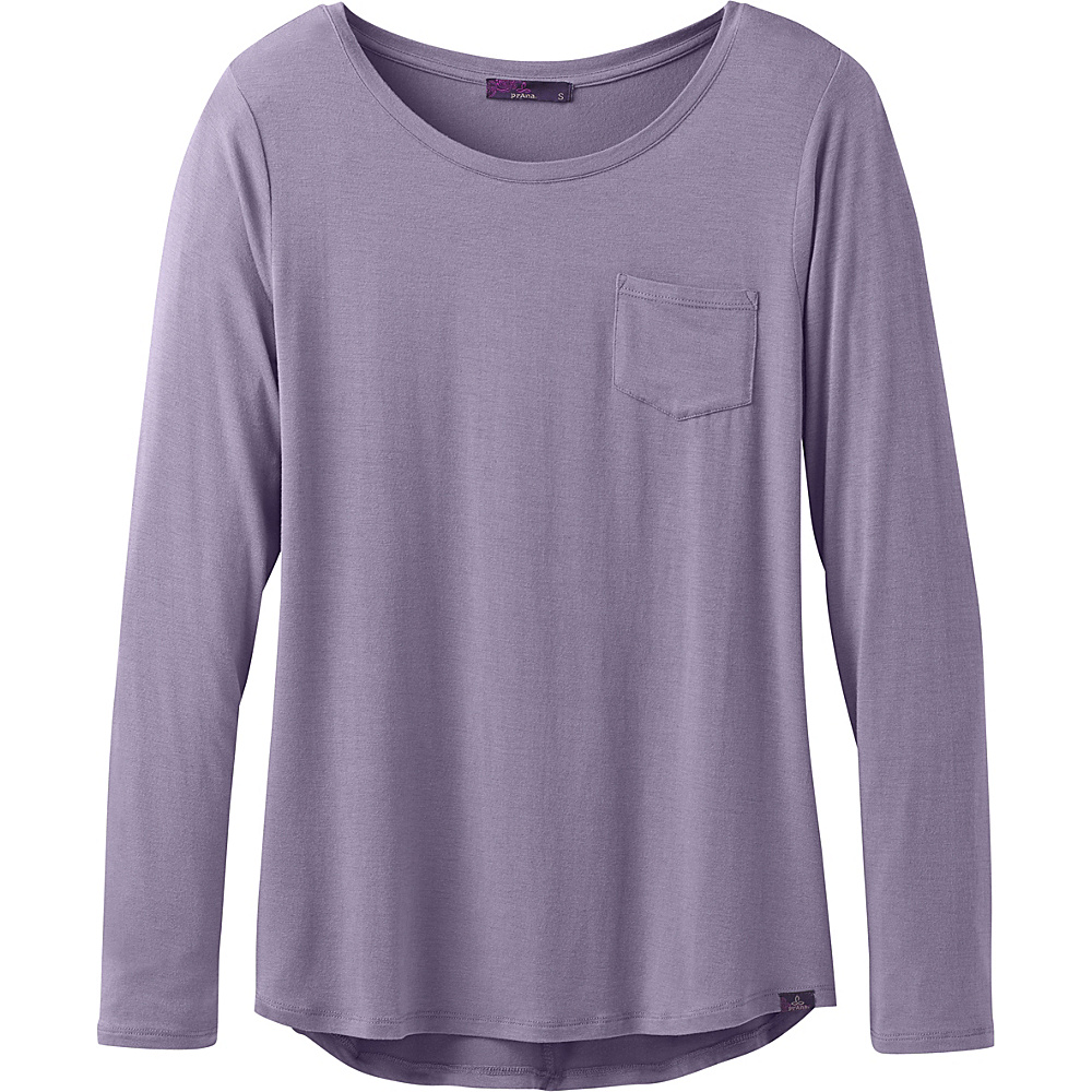 PrAna Foundation Long Sleeve Crew Neck Top L - Purple Mountain - PrAna Womens Apparel - Apparel & Footwear, Women's Apparel