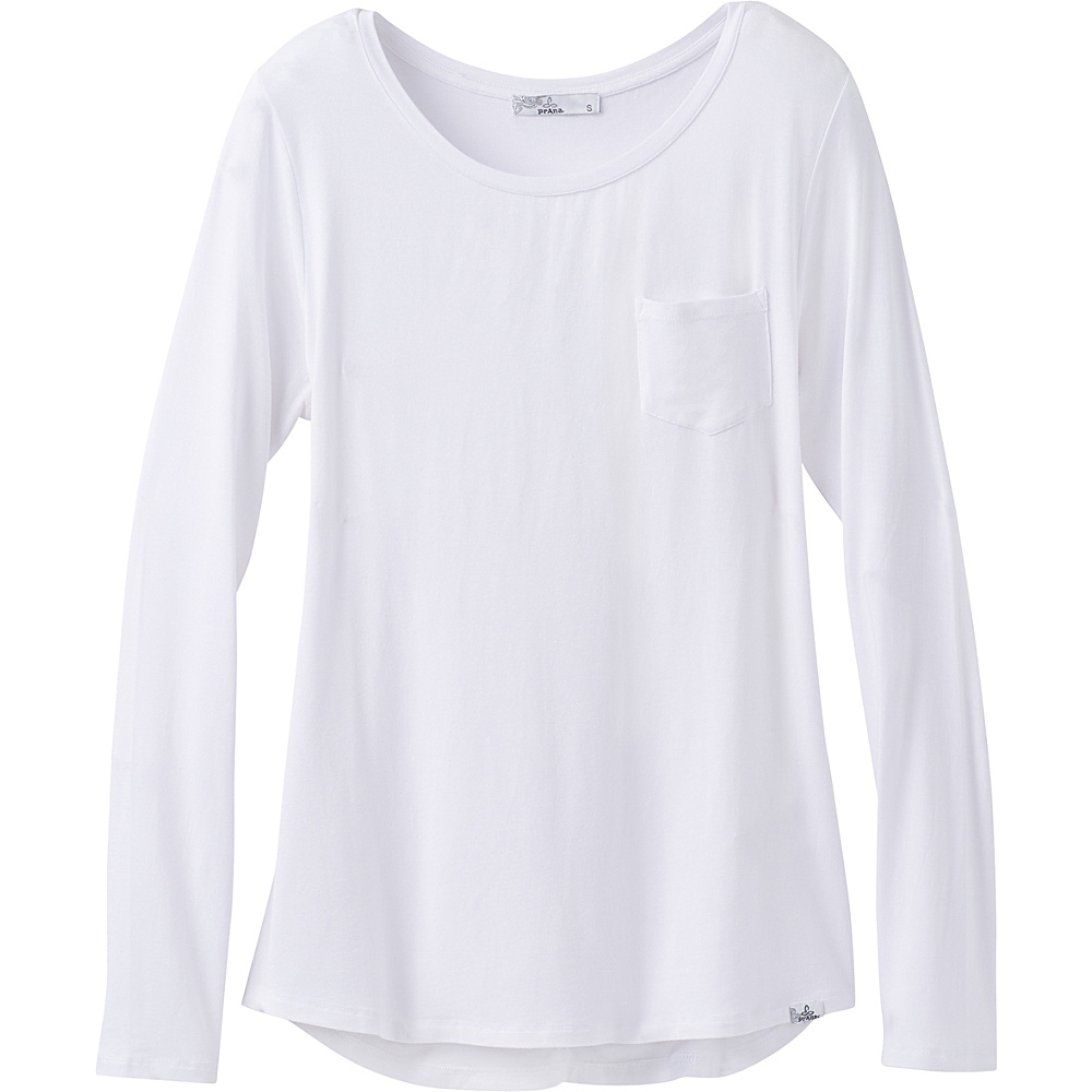PrAna Foundation Long Sleeve Crew Neck Top XS - White - PrAna Womens Apparel - Apparel & Footwear, Women's Apparel