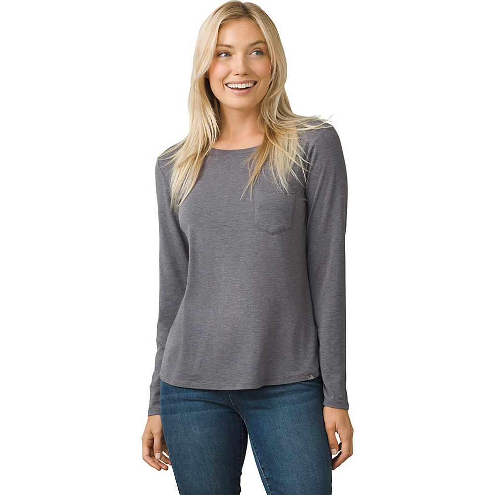 PrAna Foundation Long Sleeve Crew Neck Top L - Muted Truffle Heather - PrAna Womens Apparel - Apparel & Footwear, Women's Apparel