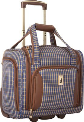London Fog Kensington Ultra-Lightweight  15 inch 2 Wheel Under the Seat Bag Blue Tan Plaid - London Fog Softside Carry-On