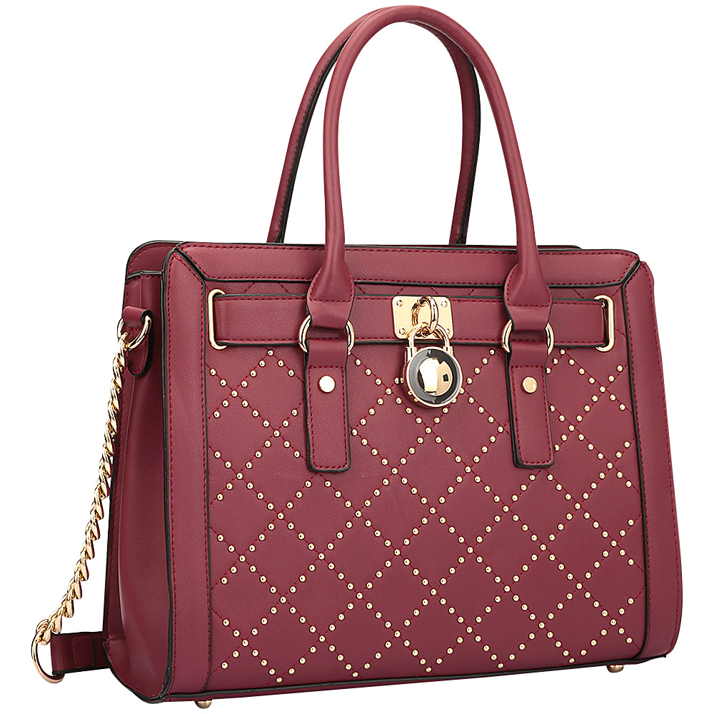 Dasein Medium Satchel with Decorative Gold Studs and Belted Lock Deco Burgundy - Dasein Manmade Handbags - Handbags, Manmade Handbags
