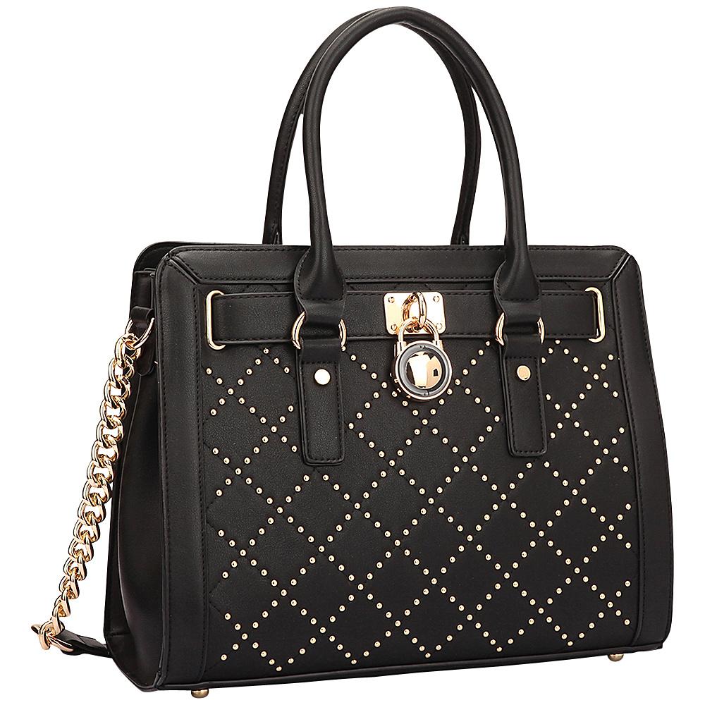 Dasein Medium Satchel with Decorative Gold Studs and Belted Lock Deco Black - Dasein Manmade Handbags - Handbags, Manmade Handbags
