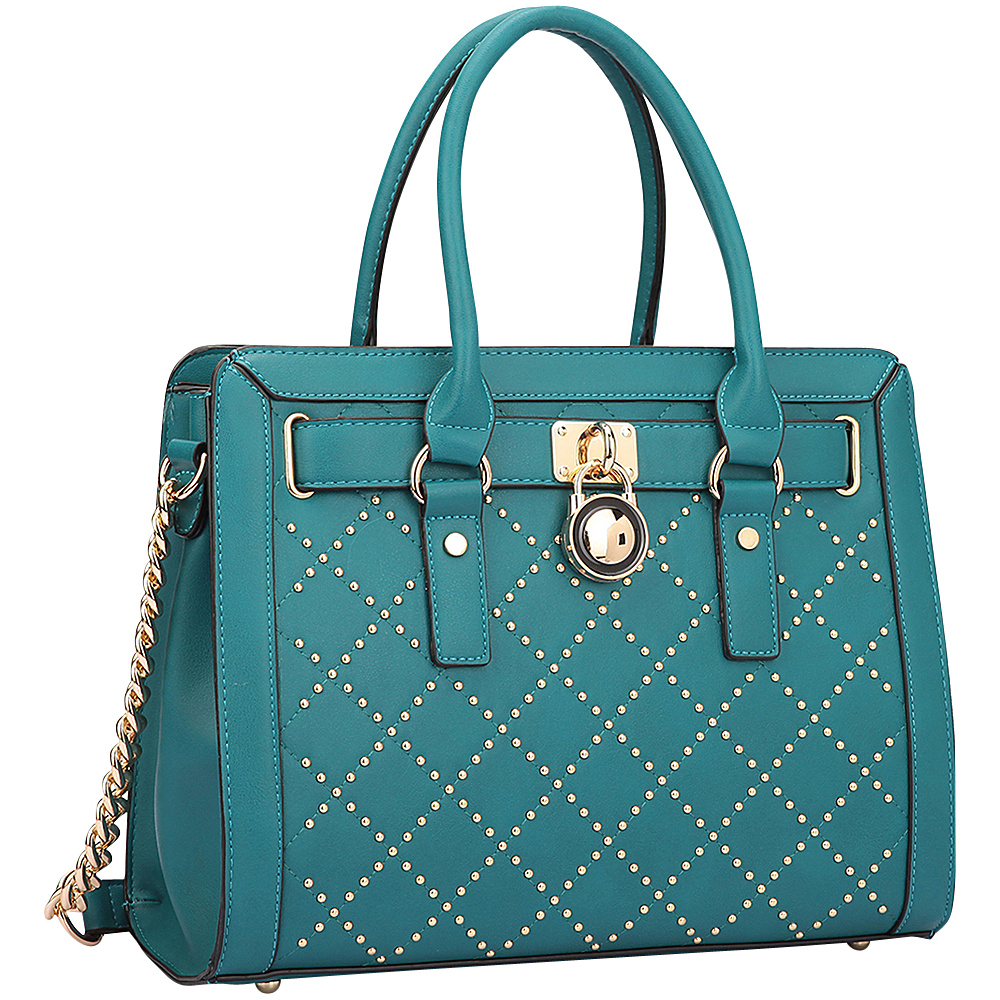 Dasein Medium Satchel with Decorative Gold Studs and Belted Lock Deco Turquoise - Dasein Manmade Handbags - Handbags, Manmade Handbags