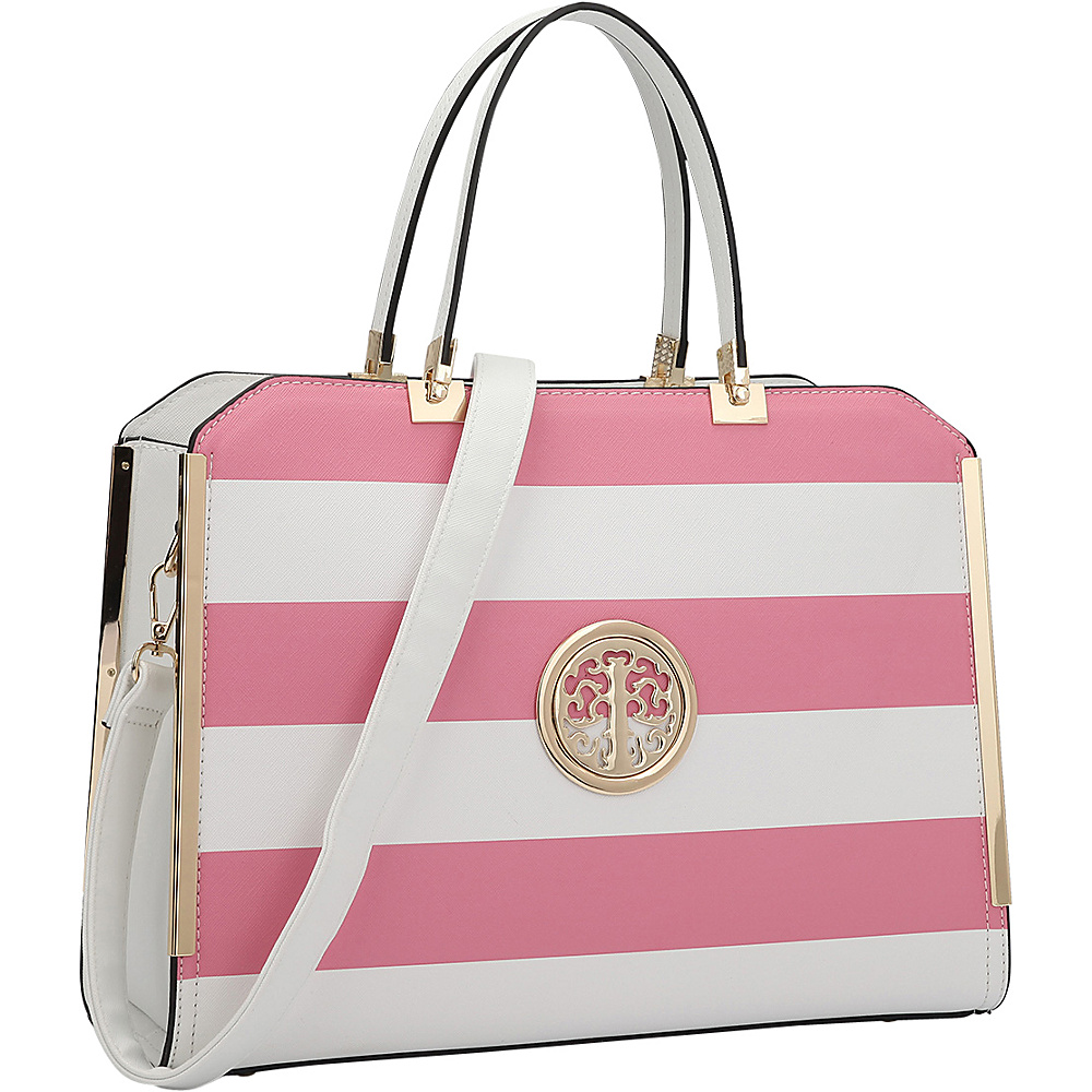 Dasein Rolled Handle Striped Briefcase Pink/White - Dasein Manmade Handbags - Handbags, Manmade Handbags