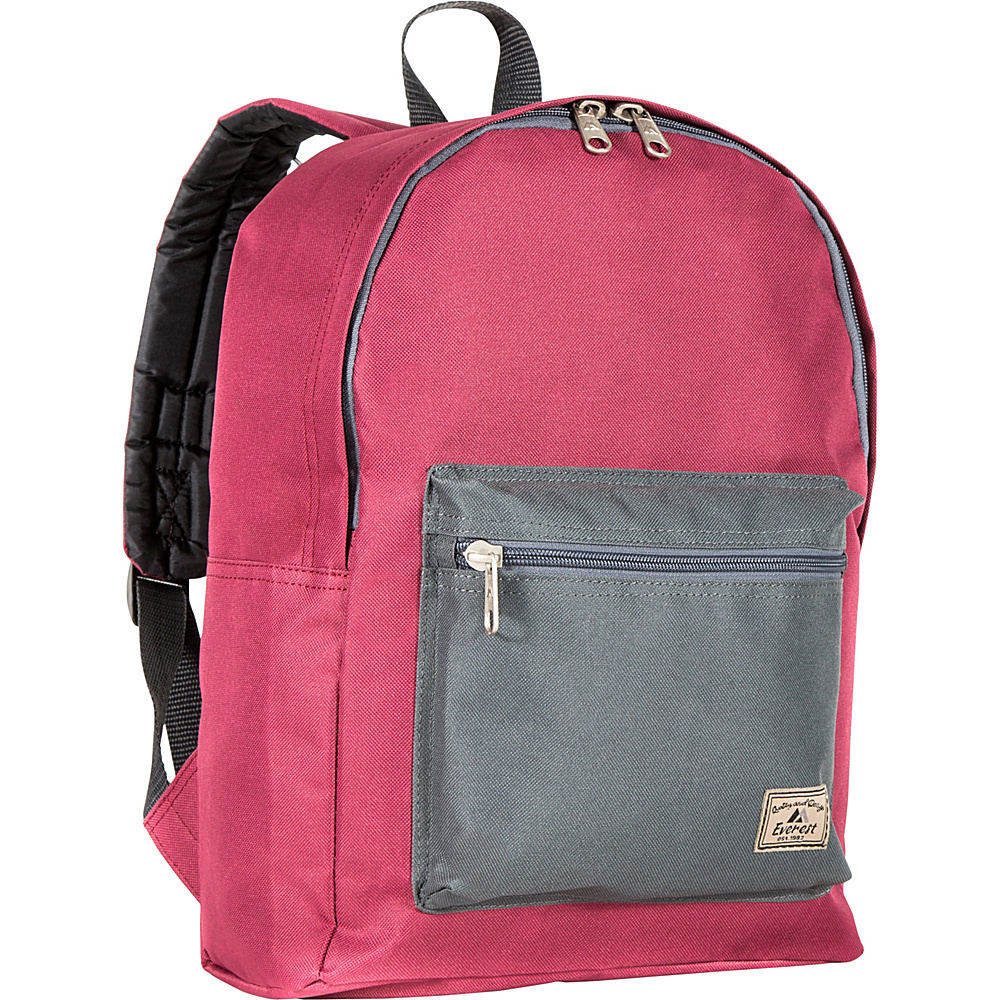 Everest Basic Color Block Backpack Burgundy/Charcoal - Everest Everyday Backpacks - Backpacks, Everyday Backpacks