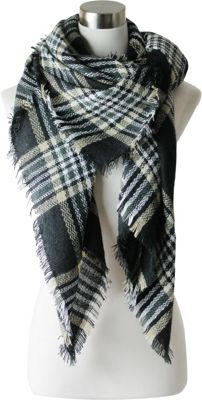 Lava Accessories Black And Gold Tartan Plaid Blanket Scarf Black - Lava Accessories Scarves