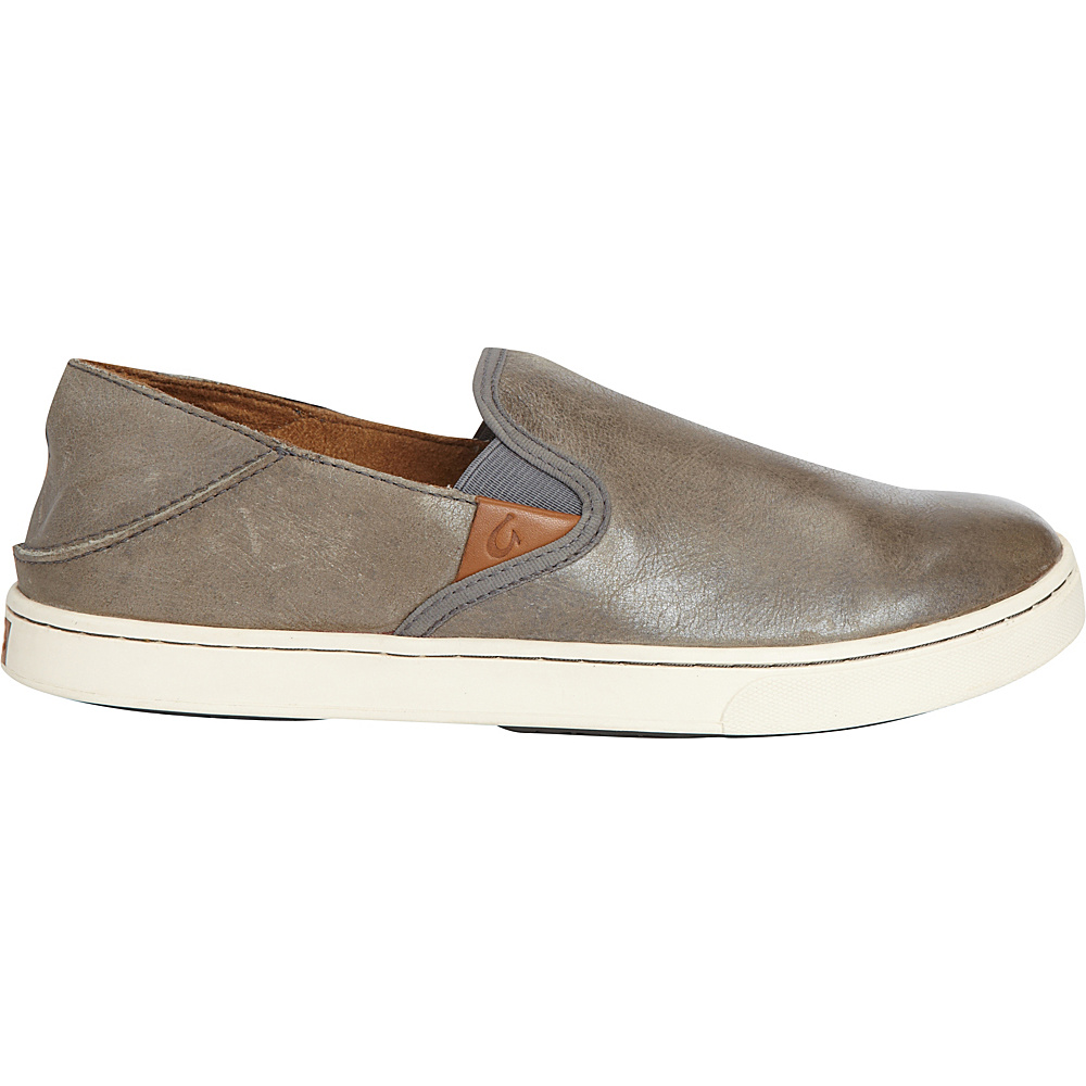 OluKai Womens Pehuea Leather Slip-On 10 - Pewter/Charcoal - OluKai Womens Footwear - Apparel & Footwear, Women's Footwear