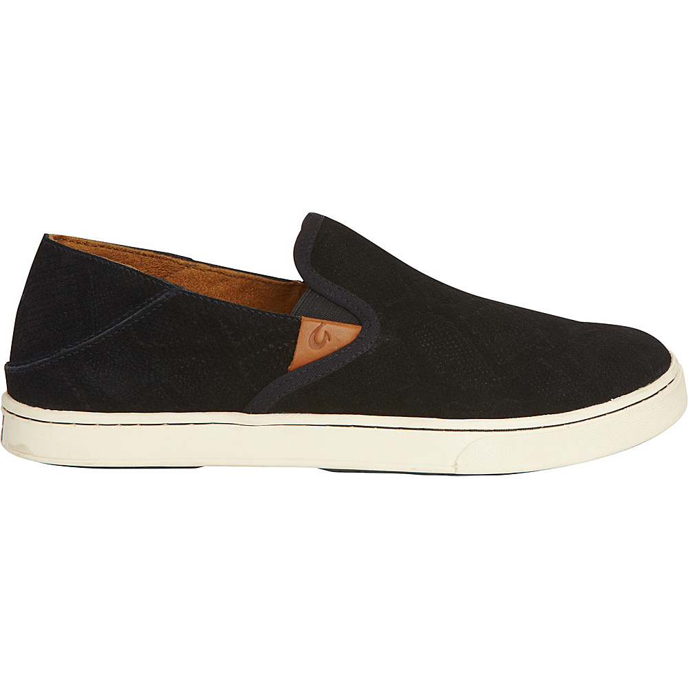 OluKai Womens Pehuea Leather Slip-On 5 - Black Honu/Black - OluKai Womens Footwear - Apparel & Footwear, Women's Footwear
