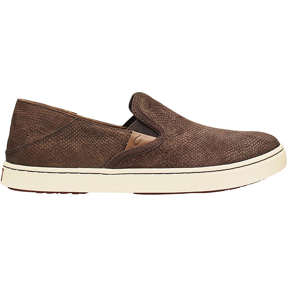OluKai Womens Pehuea Leather Slip-On 7 - Dark Java Honu/Dark Java - OluKai Womens Footwear - Apparel & Footwear, Women's Footwear
