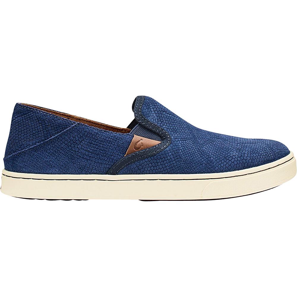 OluKai Womens Pehuea Leather Slip-On 6 - Trench Blue Honu/Trench Blue - OluKai Womens Footwear - Apparel & Footwear, Women's Footwear