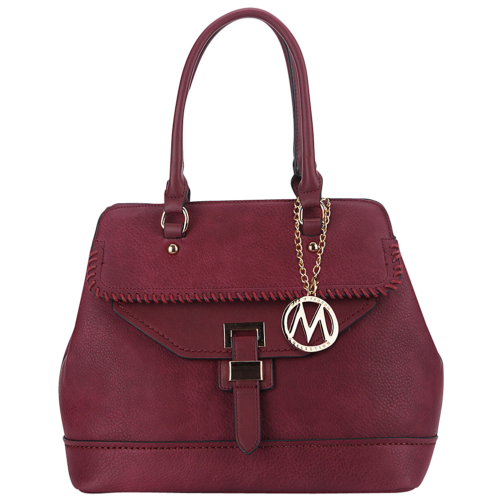 MKF Collection by Mia K. Farrow Stitched Mama Handbag Burgundy - MKF Collection by Mia K. Farrow Manmade Handbags - Handbags, Manmade Handbags