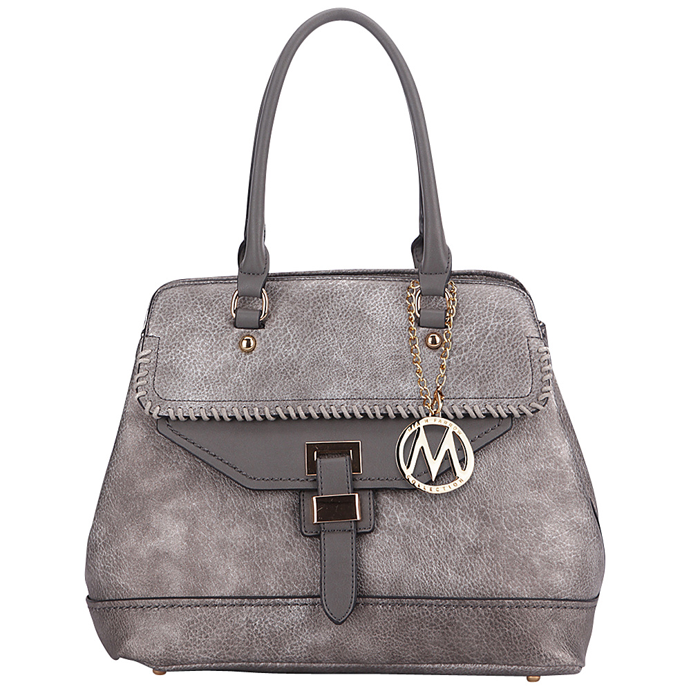 MKF Collection Stitched Mama Handbag Pewter - MKF Collection Manmade Handbags - Handbags, Manmade Handbags