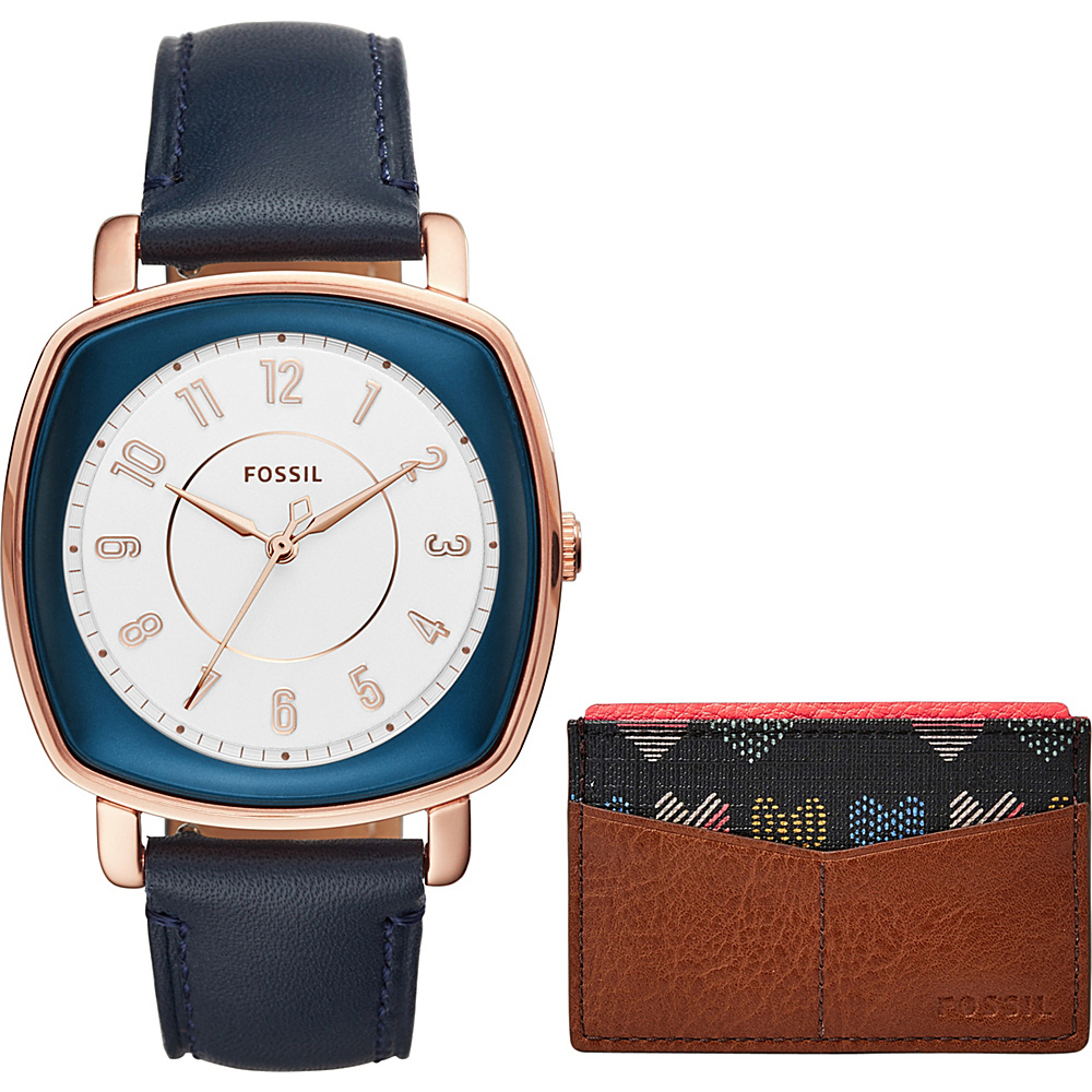 Fossil Idealist Three-Hand Watch and Card Case Box Set Blue - Fossil Watches - Fashion Accessories, Watches