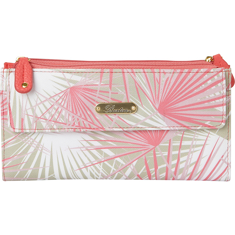 Buxton Tropical Palms Cosmopolitan Wallet Sugar Coral - Buxton Womens Wallets - Women's SLG, Women's Wallets