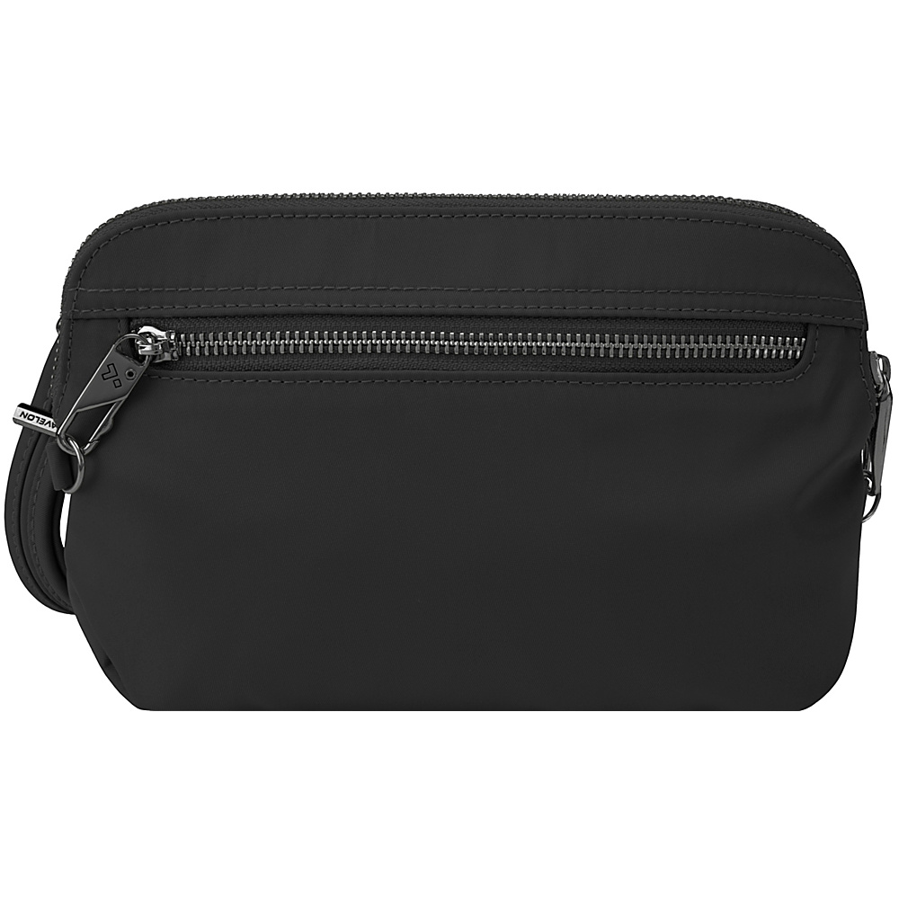 Travelon Anti-Theft Tailored Convertible Crossbody Clutch Onxy/Royal Purple Interior - Travelon Fabric Handbags - Handbags, Fabric Handbags