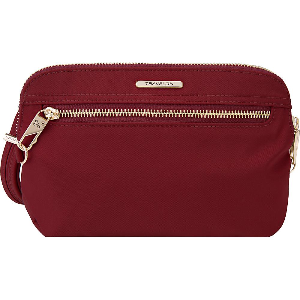Travelon Anti-Theft Tailored Convertible Crossbody Clutch Garnet/Dove Gray Interior - Travelon Leather Handbags - Handbags, Leather Handbags