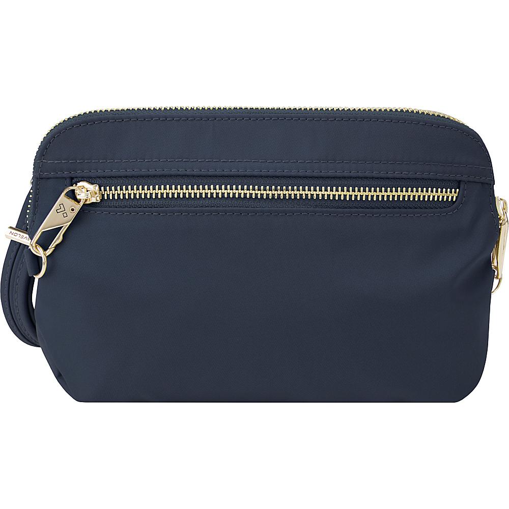 Travelon Anti-Theft Tailored Convertible Crossbody Clutch Sapphire/Dove Gray Interior - Travelon Leather Handbags - Handbags, Leather Handbags