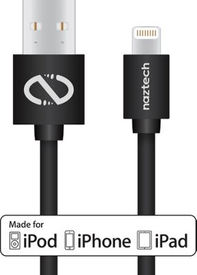 Naztech Lightning MFi 10ft Charge and Sync Cable Black - Naztech Electronic Accessories
