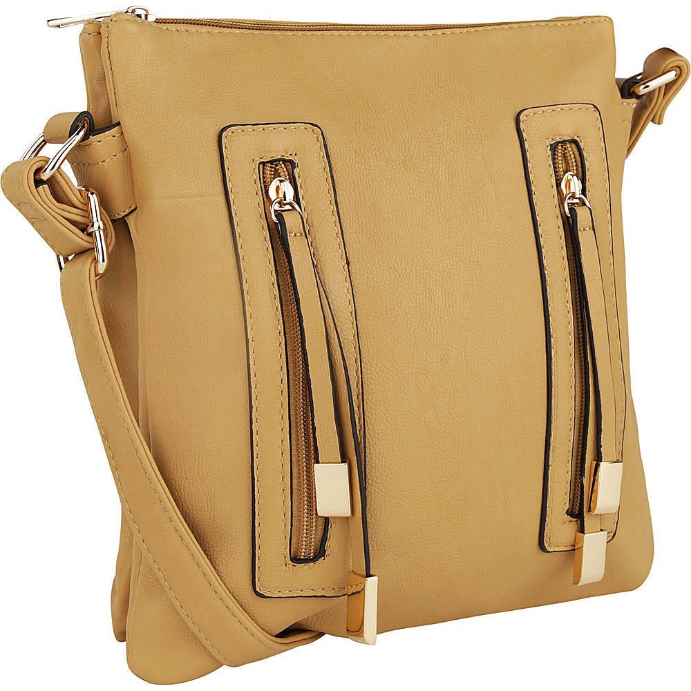 MKF Collection Bridget Double Zipper Crossbody Apricot - MKF Collection Manmade Handbags - Handbags, Manmade Handbags