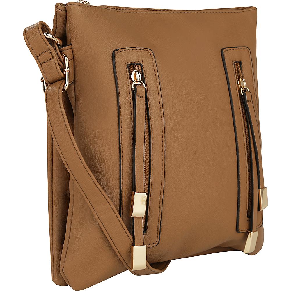 MKF Collection by Mia K. Farrow Bridget Double Zipper Crossbody Camel - MKF Collection by Mia K. Farrow Manmade Handbags - Handbags, Manmade Handbags