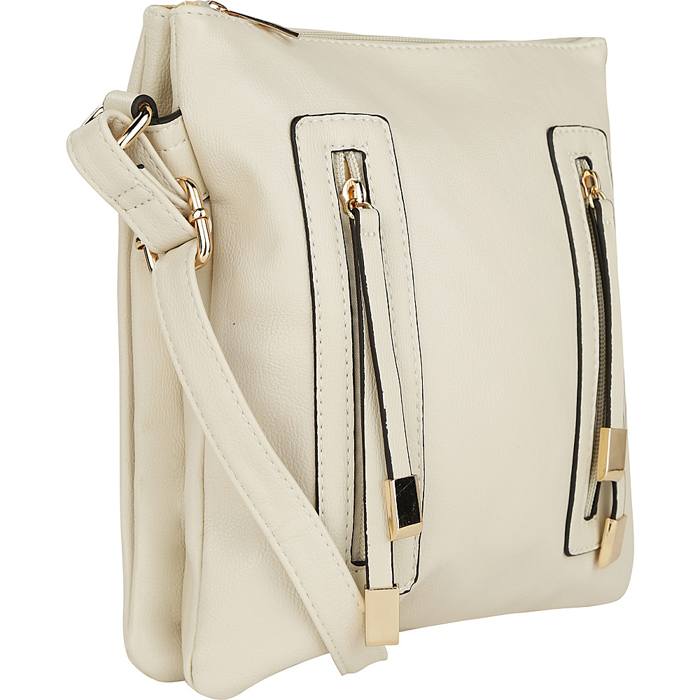 MKF Collection Bridget Double Zipper Crossbody Off White - MKF Collection Manmade Handbags - Handbags, Manmade Handbags