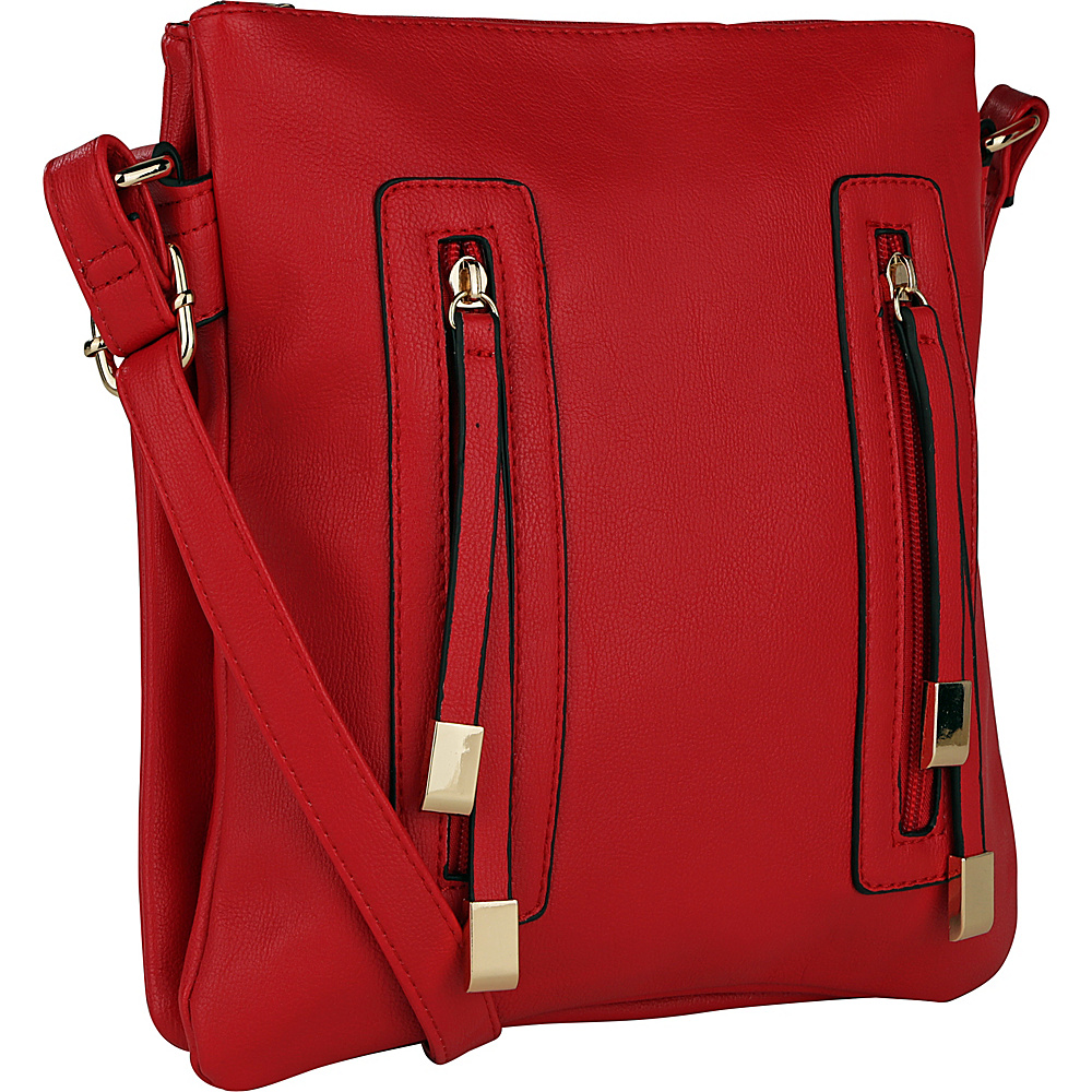 MKF Collection by Mia K. Farrow Bridget Double Zipper Crossbody Red - MKF Collection by Mia K. Farrow Manmade Handbags - Handbags, Manmade Handbags