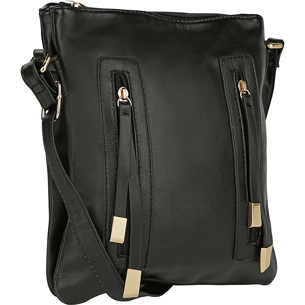 MKF Collection Bridget Double Zipper Crossbody Black - MKF Collection Manmade Handbags - Handbags, Manmade Handbags