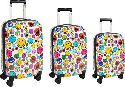 Smiley Celebration 3pc Set Spinner White - Smiley Luggage Sets