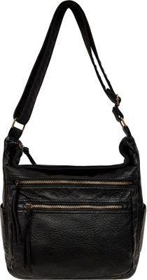 Bueno Antique Pebble Washed Shoulder Bag Black - Bueno Manmade Handbags
