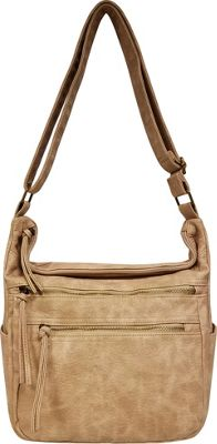 Bueno Antique Pebble Washed Shoulder Bag Sand - Bueno Manmade Handbags